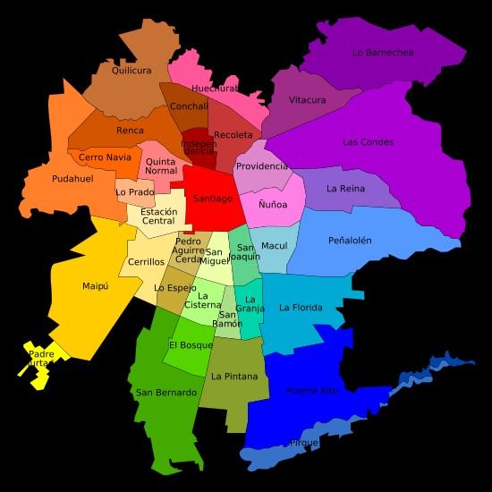 Comidas chilenas, su gran gastronomía. mapa-comunas-de-santiago-de-chile