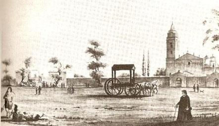 Litografía de la Iglesia Nuestra Señora del Pilar, año 1841, Pellegrini