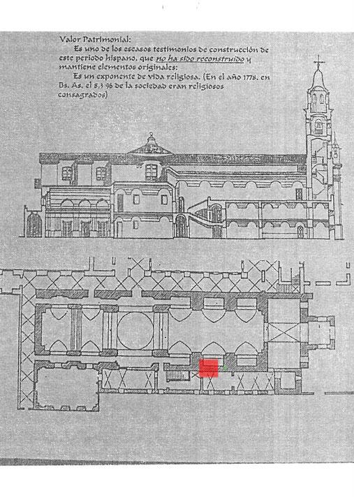 """Plano de la Iglesia de Nuestra Señora del Pilar. Acceso a los """"Claustros"""""""