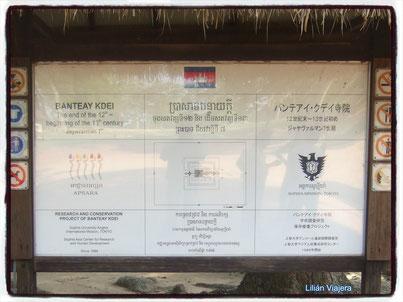 Cartel al ingreso de Banteay Kdei