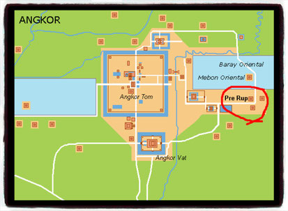 Ubicación del Templo Pre Rup, Angkor. (Foto de Wikipedia)